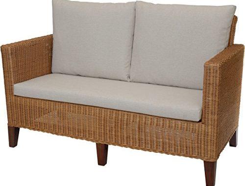 Rattan Sofa 2 Sitzer Lounge In Der Farbe Cognac Inkl Sitz