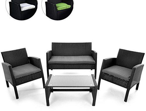 rattanset 4tlg sitzecke mit tisch mit 2 sessel und 1 sofa garnitur rattan. Black Bedroom Furniture Sets. Home Design Ideas